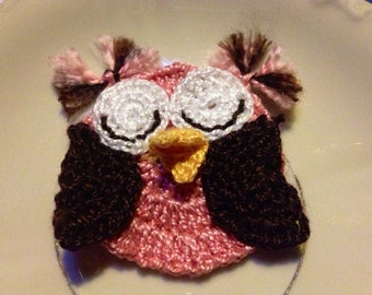 Crochet PDF Pattern Cute Little Owl Applique instant download