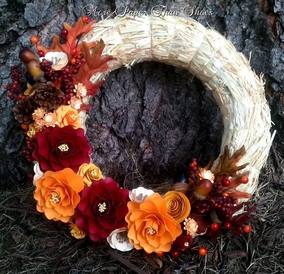 Handmade Paper Flower Wreath - Fall - Home Decor - Red and Yellow