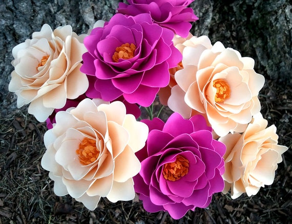 Paper Flowers - Wedding Flowers - Handmade - Stemmed - Custom Orders - Wide Variety Of Colors -Set of 100