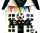 Soccer House - Hand-Painted Paper Mache House