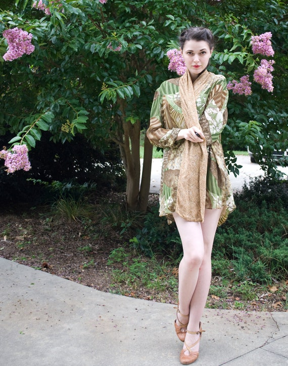 reserved    80s - My Jungle Cover -  brown green cream loose fitting top jacket or beach cover up - size s m