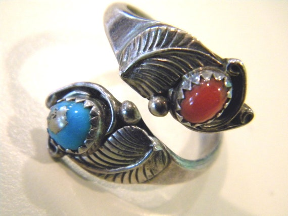 JC Zuni Turquoise and red coral sterling ring (7)
