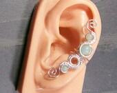 Amazonite & Silver Woven Gemstone Ear Cuff