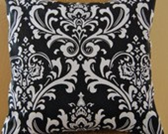 "Pillow Cover Cushion  18x18""  chocolate natural damask"
