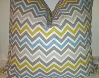 "Pillow Cover Cushion  20""x20"" zig zag chevron zoom zoom blue yellow, gray"