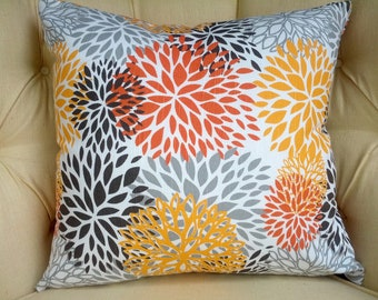 "Pillow Cover Cushion  brown orange chili pepper suzani 24x24"" modern geometric flowers"