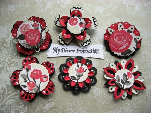 Creamy Collection Hot Pink and Black Rose Scrapbook Paper Embellishments and Paper Flowers