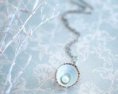 Sea shell jewelry pearl in the blue limpet shell necklace ocean jewelry, Beach wedding necklace, gift under 30