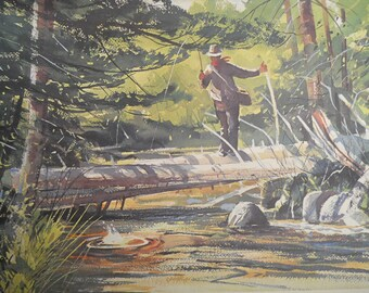 Chet Reneson Sporting Watercolors Signed Lithograph 1980 Calendar, 1970s Art