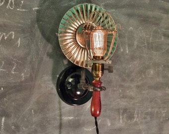 Vintage Industrial Cage Light with Wall Mount and Tin Reflector - Machine Age Pendant Trouble Lamp Sconce