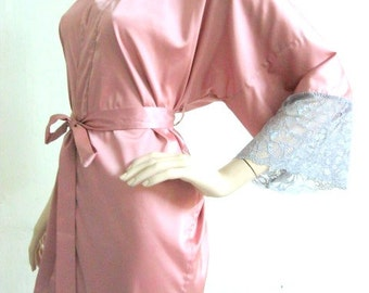 Silk Satin Kimono Robe in Dusty Rose with Lace Short Kimono Gift for Her Bridesmaid Robes Wedding Robes Loungwear