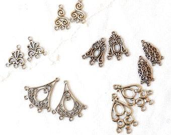 6 sets earring chandeliers silvertone metal earring findings sivertone chandeliers destash supplies