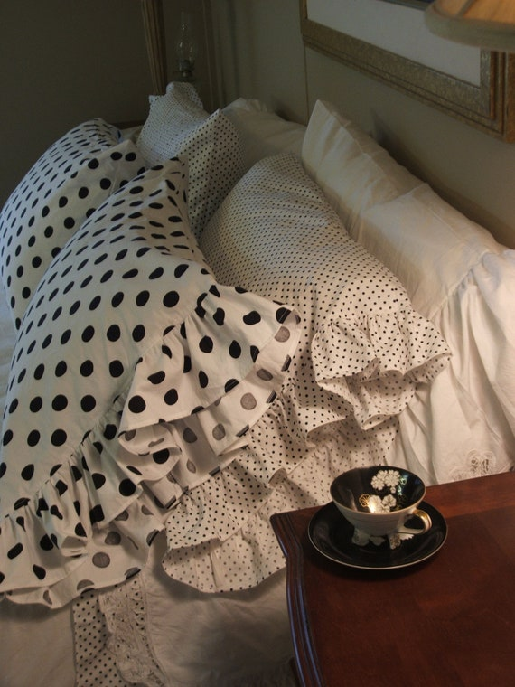 Shabby Chic Body Pillow Pillowcase : shabby chic polka dot pillow cases with a 4 ruffle