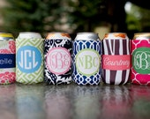set of 8 monogrammed drink koozie - choose eight from 6 template designs, customize name/initials only