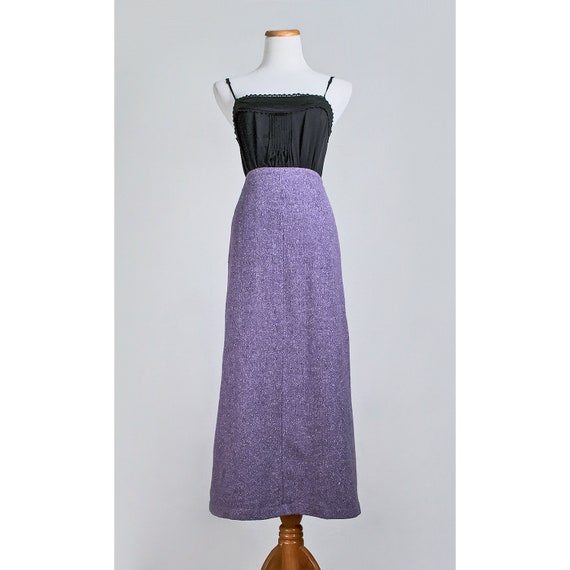 1970s purple wool maxi skirt 70s lavender by