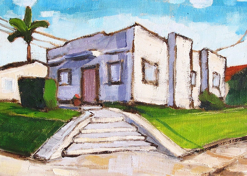 Art Deco House in Hillcrest- San Diego Landscape Painting