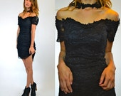 black LACE high neck CHOKER grunge GOTHIC fitted mini dress, size medium