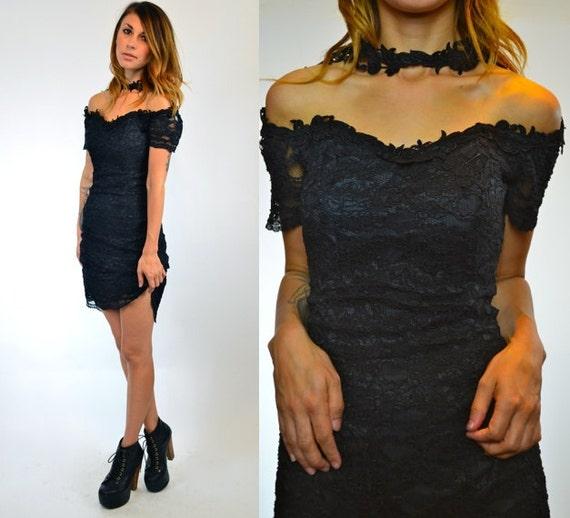 black LACE high neck CHOKER grunge GOTHIC fitted mini dress, size medium