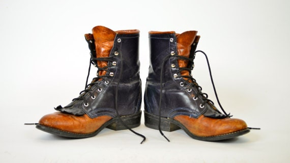 two toned LACER granny grunge LOREDO leather western cowboy BOOTS, size 7m