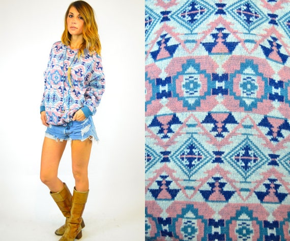 PASTEL navajo southwestern AZTEC hooded ethnic geometric SWEATER, extra small-large