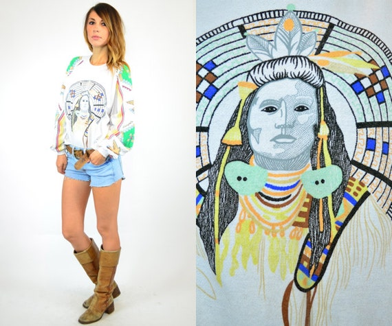 reserved---native american CHIEF indian SOUTHWEST white pullover SWEATSHIRT, extra small-medium