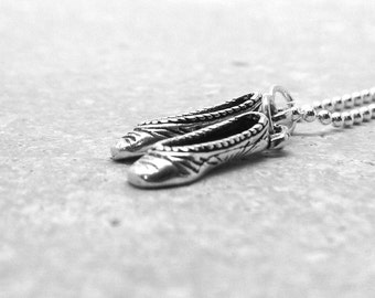 Ballet Necklace, Ballet Jewelry, Ballet Pendant, Ballet Slipper Necklace, Charm Necklace, Sterling Silver Jewelry, Sterling Silver Ballet