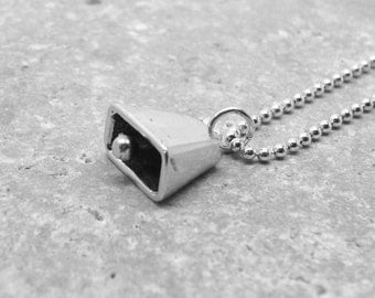 Cowbell Necklace, Cowbell Jewelry, Cowbell Pendant, Charm Necklace, Sterling Silver Jewelry, Cowbell Charm, Running Jewelry, More Cowbell