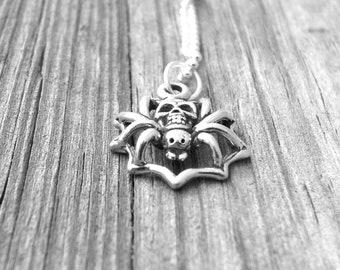 Spider Necklace, Skull Necklace, Spider Jewelry, Skull Jewelry, Charm Necklace, Sterling Silver Jewelry, Halloween Jewelry, Halloween, Skull