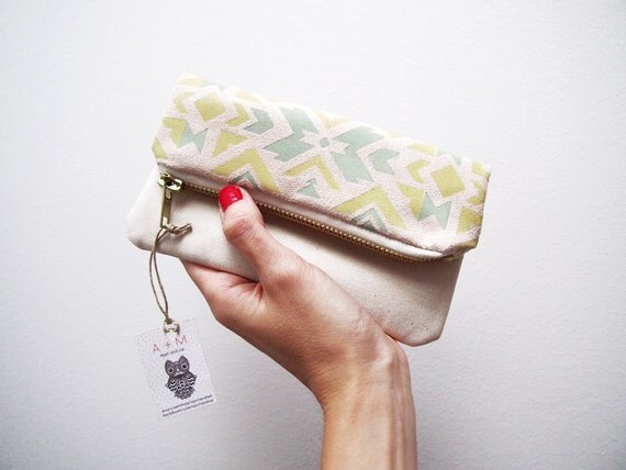 Tribal navajo pouch pastel and beige zipper foldover clutch imitation suede fabric with ethnic handpainted pattern