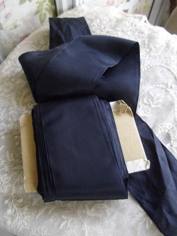 Divine shabby chic antique French rich black wide taffeta sash ribbon late 1800s - large haberdashery roll