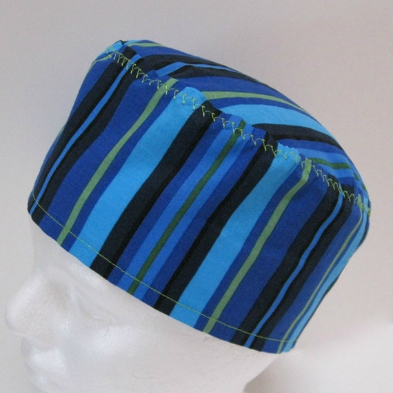 Unisex Scrub Hat with Stripes in Shades of Blue and Green