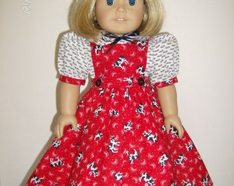 """American Girl or 18 Inch Doll Clothes / 3pc. """"Down on the Farm"""" Jumper Set"""