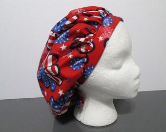Patriotic Red, White, and Blue Flower Power Bouffant Surgical Scrub Cap