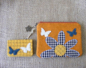 Flower and butterflies applique wool felt wallet and credit cards holder set.
