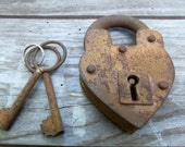READY To SHIP - - Rustic Wedding Heart Padlock - TWO Sizes Available