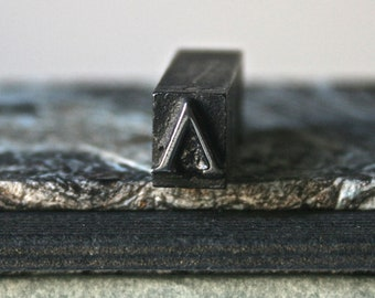 Vintage Letterpress Type - Greek Letter Lambda - Drilled and Polished for Jewelry Making