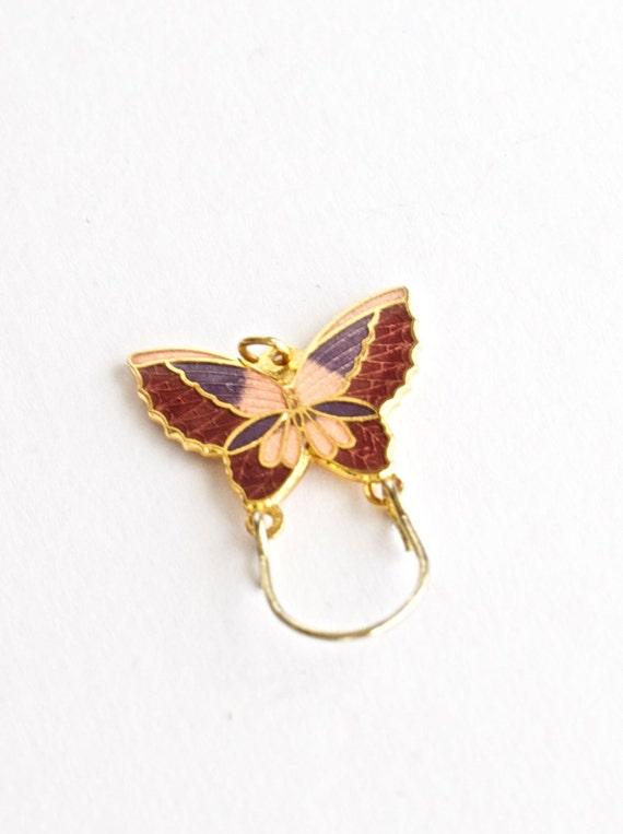 Butterfly Charm Holder Keeper Pendant Cloisonne Bohemian Jewelry