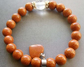 Female Jewelry Glidstone Goldstone Round Beads Stretchy Bracelet Width Heart Pendant  T1744
