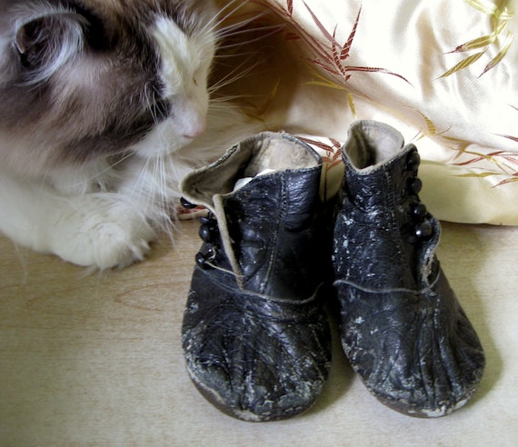 RESERVED.... Be Sweet.... Antique Victorian Leather Side Button Child or Doll Shoes or Booties