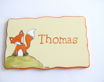 Personalized kids Door sign- kids wall art, Fox cream and orange door sign for children's room, children decor, kids sign, boys sign