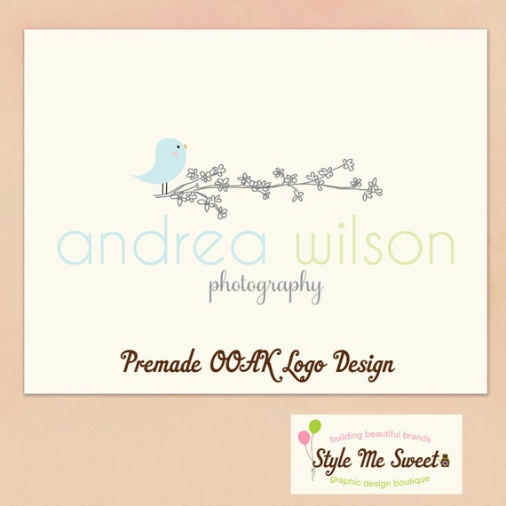Logo Design Premade OOAK Birdie on a Floral Branch Photography Photographer Small Business Logo NEVER RESOLD