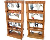 Jewelry Organizer - Cherry Wood Earring holder Stand, Double-Sided Jewelry Holder. Holds 80 pairs of Earrings. Jewelry Display