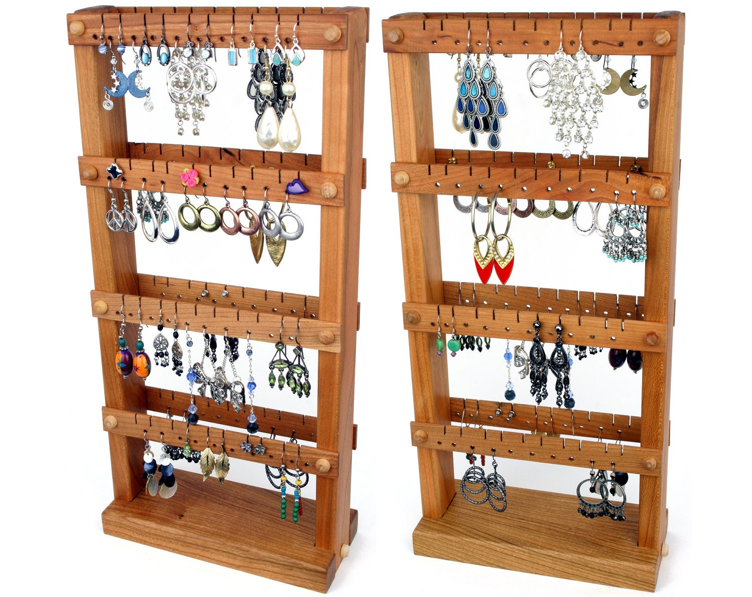 jewelry organizer cherry wood earring holder stand. Black Bedroom Furniture Sets. Home Design Ideas