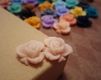 20pcs (Matte Pale Rosaline) -Rainbow Iris Rose -CMVision Exclusive-11.5mm Resin Flower Rf05 04