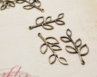 4pcs Antique Pure BRASS Bendable Filigree Five Leaves Branch Muti-holes Connector Charms Pendant Drops Q67
