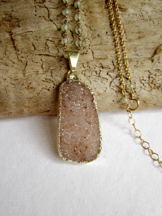 Sand Druzy Necklace Drusy Quartz Prehnite 14K Gold Fill