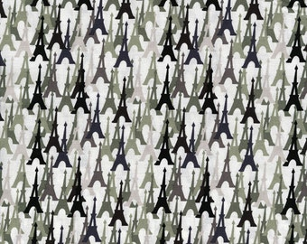 Eiffel Tower - Black and Grey - Quilting Cotton - Fat quarter - FQ