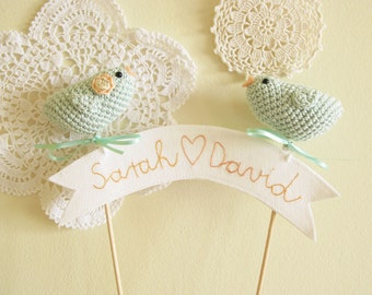 Bird Wedding Cake Topper, Mint Blue Crochet Love Birds, Personalized Name Banner
