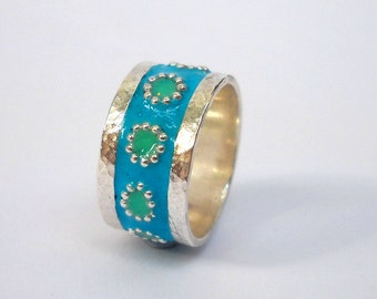 Blue Green flowers ring Sterling silver ring, Hammered silver stripe ring, Mint Green dotted flowers, Israeli jewelry by Hila Welner