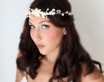 bridal headband, bridal headband ,bridal headband ,Wedding Flower Crown, Crystals and Pearls, Bridal Tiara,  Hair Flower Soft White